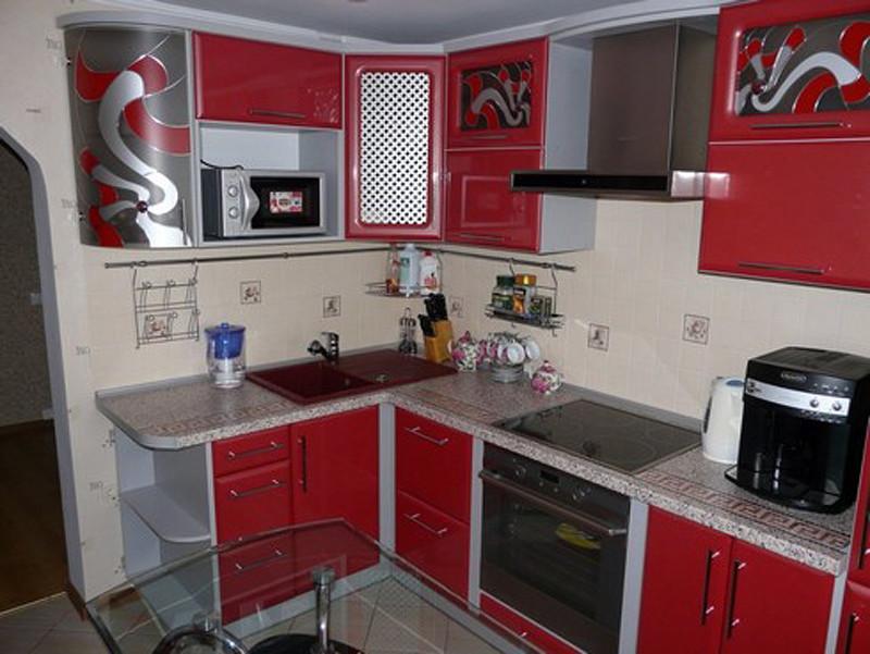Фото дизайна красной кухни 9 кв м