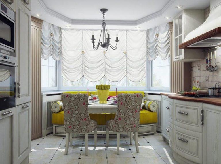 Окно с эркером на кухне дизайн фото.