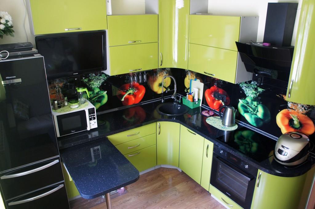Кухни черно зеленые фото дизайн